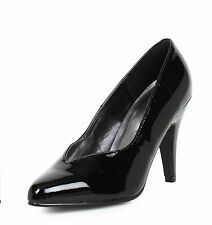 "4"" Black Wide Width Pumps Crossdresser Drag Queen Womans Large Size Shoes 12 13"