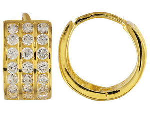 Lovely Huggie Earrings W/ 2.52ctw CZ in18k Yellow Gold Over Sterling Silver