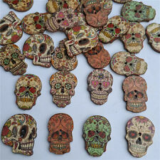 50pcs Skull Head Wood Buttons 18*25mm Sewing Craft Mix Lots 2 Holes Buttons DIY