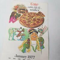 Vintage Coca Cola 1977 Calendar Original Advertisement 4 Seasons Graphics Color