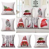 Square Throw Pillow Case Cotton Linen Sofa Car Bed Cushion Cover Home Xmas Decor