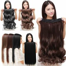 【US Stock】 3/4 Full Head Hair Extensions Clip Straight Curly w/ 5 Clips, Long