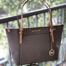 Michael Kors Womens PVC Leather Large Shoulder Tote Bag Handbag Brown Gold MK