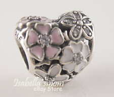 POETIC BLOOMS Authentic PANDORA Pink White ENAMEL Flowers HEART Charm 791825ENMX
