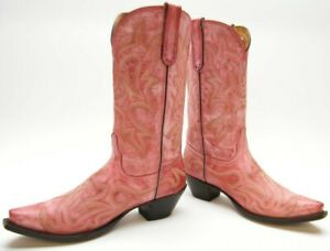 WOMENS OLD GRINGO YIPPEE KI YAY PINK LEATHER SNIP TOE COWBOY WESTERN BOOTS 8.5 B