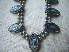 Vintage Silver Ball Chain Double Strand Necklace w/Turquoise & Silver Beads C54
