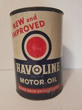 Havoline Motor Oil Can New And Improved Texas Metal Vintage 5 Quart