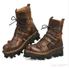Goth Men's Genuine Leather Ankle Boot Motor Combat Casual Military Lace Up Shoes