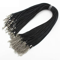 Black Braid Clasp Lobster Pendant Fashion Necklace Leather Rope Cord Chain 1.5MM