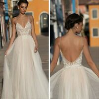Bohemian Beach V Neck Wedding Dress Lace Bridal Dress Backless Wedding Gown