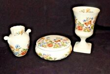 Vintage Ansley Bone China England Cottage Garden 4 Piece Dresser Set- Pretty!