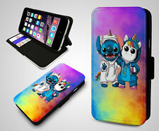Rainbow Cute Unicorn Glitter Bling Lilo & Stitch Wallet Leather Phone Case Cover