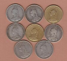 More details for eight 1887 victoria jubilee head silver shillings in used fine condition