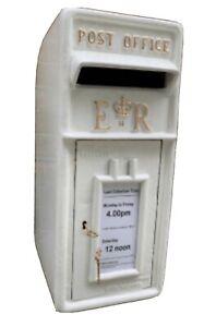 Cast Iron Royal Mail Pillar Post Office - ER  Letter Box - White - Wedding