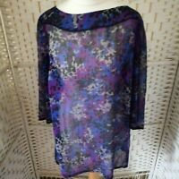 Style EWM Womens Purple Multi Sheer Blouse Size 16 3/4 Sleeve Casual