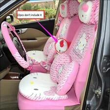 22pcs Hello Kitty Head Comfortable Pink Car Seat Covers Car Interior Accessories