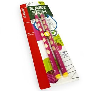2 x STABILO Easygraph Handwriting Pencils - HB - Left Handed - Pink Barrel