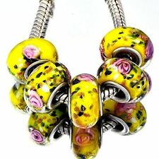 5Pcs Gold Silver Crystal MURANO GLASS Yellow Bead Loose European DIY Bracelets