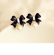 Fashion Sterling Silver Butterfly Bow Knot Pearl Cute Vintage Stud Earrings P15