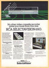 RCA SELECTAVISION 650 video 1980 Vintage Print Ad