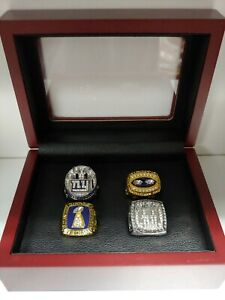New York Giants - Super Bowl 4 Ring Set With Wooden Box.. Manning Simms Taylor