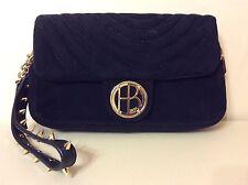 HENRI BENDEL Black Suede Leather Gold Tone Handbag Clutch With Spiked Handle