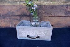 New listing Gray & Aqua Weathered Window Box w Handle Hanging Planter Wedding Garden Rustic