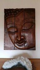 "Large Hardwood  Carved 30"" High, Buddha  Wall Hanging"
