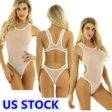 US_Sexy Womens See Through Bodysuit Bikini Bathing Monokini Mesh Thong Swimwear