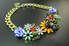 Unique Chunky Or Coloré Floral Collier Bold Bright pierres Déclaration (CL17T)