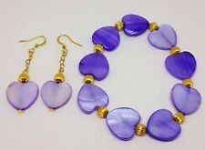 Genuine Lavender Purple Shell Hearts bracelet and earrings set - Handmade!
