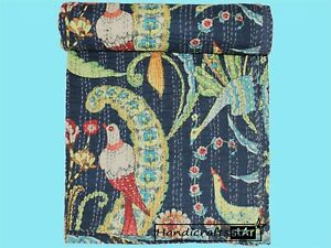 Blue Color Cotton Kantha Quilt Bedspread Indian Handmade Bedding Coverlet&Throw