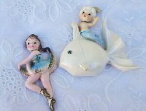 Vtg 2 Norcrest Ceramic Porcelain Mermaid Swan Wall Plaque Pink Bathroom Decor