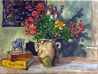 "Flowers Abstract Still Life Oil Painting, 18""x24"" Original Signed on Canvas"