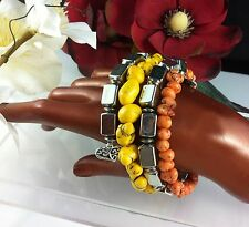 Bangle Bracelet Orange Yellow Silver Beads Flexi Wire 4 Strand Surf Jewelry