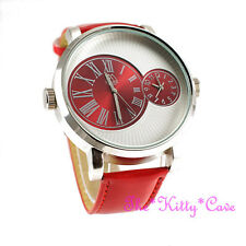 Designer Silver & Red Leather Dual Time 2 Twin Zone Double Dial Big Sunray Watch