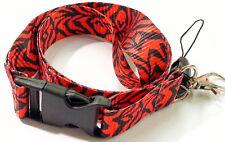 RED/BLACK ZEBRA STYLE  PRINT PATTERN LANYARD PLUS CELLPHONE & KEYCHAIN HOLDER