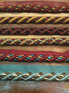 """Home Decor 3/4"""" Cord Trim with Lip Rayon Edge Upholstery 1yd Made in Italy"""