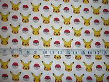 Pokemon Pikachu Stripe White Background Cotton Quilting Fabric 1/2YARD