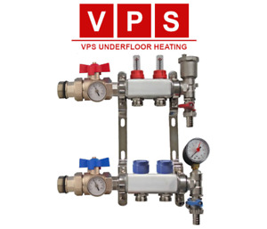 2-port Underfloor Heating Manifold with Eurocones, Valves & Gauges