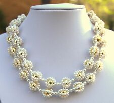 """Vintage Woven White Faux Pearls & Gold tone metal Beads 31"""" Necklace + 2"""" tassel"""