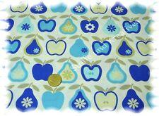 Apfel und Birne Wachstuch Baumwolle ecru blau 50 cm wasserabweisend Dekostoff