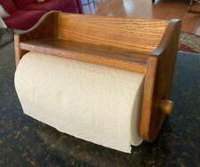 Vintage Solid Oak Wood Wall Shelf Towel Bar