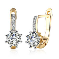 Heart Crystal Sapphire 24K Yellow Gold Plated Women Lady Wedding Hoop Earrings