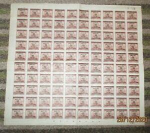 CHINA: 1949 Full 10 x 10 Sheet $20 Brown with 50c Overprint  UMM SG;1136