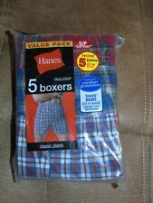 NWT Mens Hanes SMALL 28-30  TAGLESS WOVEN  BOXERS  UNDERWEAR  5  PAIR PACK