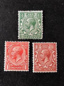 GREAT BRITAIN, SCOTT # 159-161(3), 1/2p+1p+11/2p. VALUES KGV 1912-13 MNH/MVLH