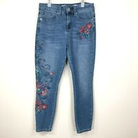Seven7 Womens Ankle Skinny Skin Fit Denim Jeans Size 4 Embroidered Flowers