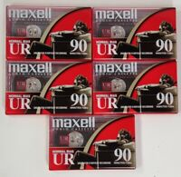 5 Pack Maxell Audio Cassette Blank UR Normal Bias IEC Type 1 90 Minutes EQ 120us