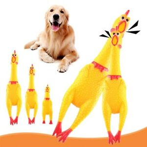 Screaming Chicken Squeeze Pets Dog Sound Toy Funny Yellow Rubber Chew Chicken